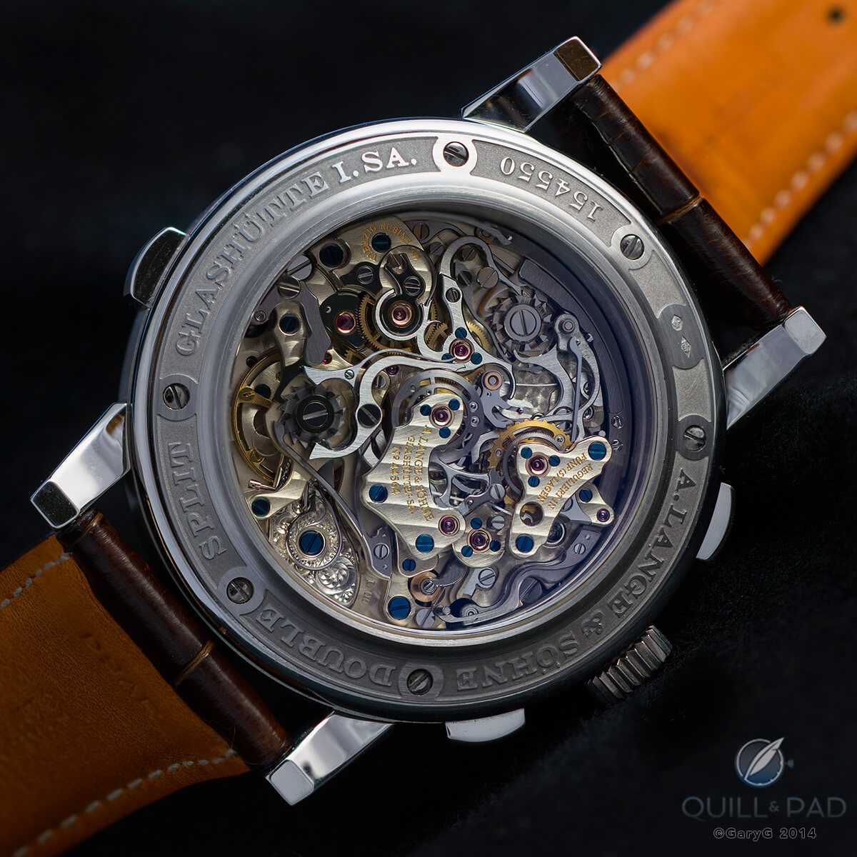 Reverse side of the A. Lange & Söhne Double Split with deep relief bezel engraving