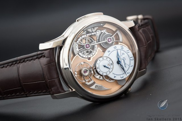 Romain Gauthier Logical One in platinum with white enamel dials
