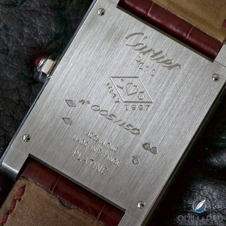 Engraved back of the Cartier Tank à Guichets in platinum