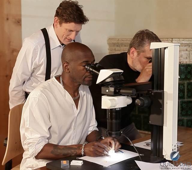 L-R: Stephen Forsey, Willard Wigan, and Robert Greubel working on Art Piece 1