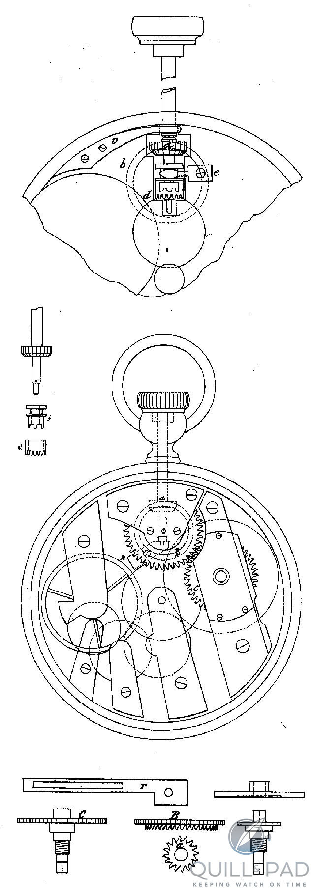 Patent for JA Philippe's keyless winding system