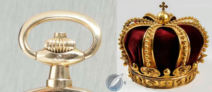 Crown of an A. Lange & Söhne pocket watch (left) and crown of Queen Elizabeth of Romania