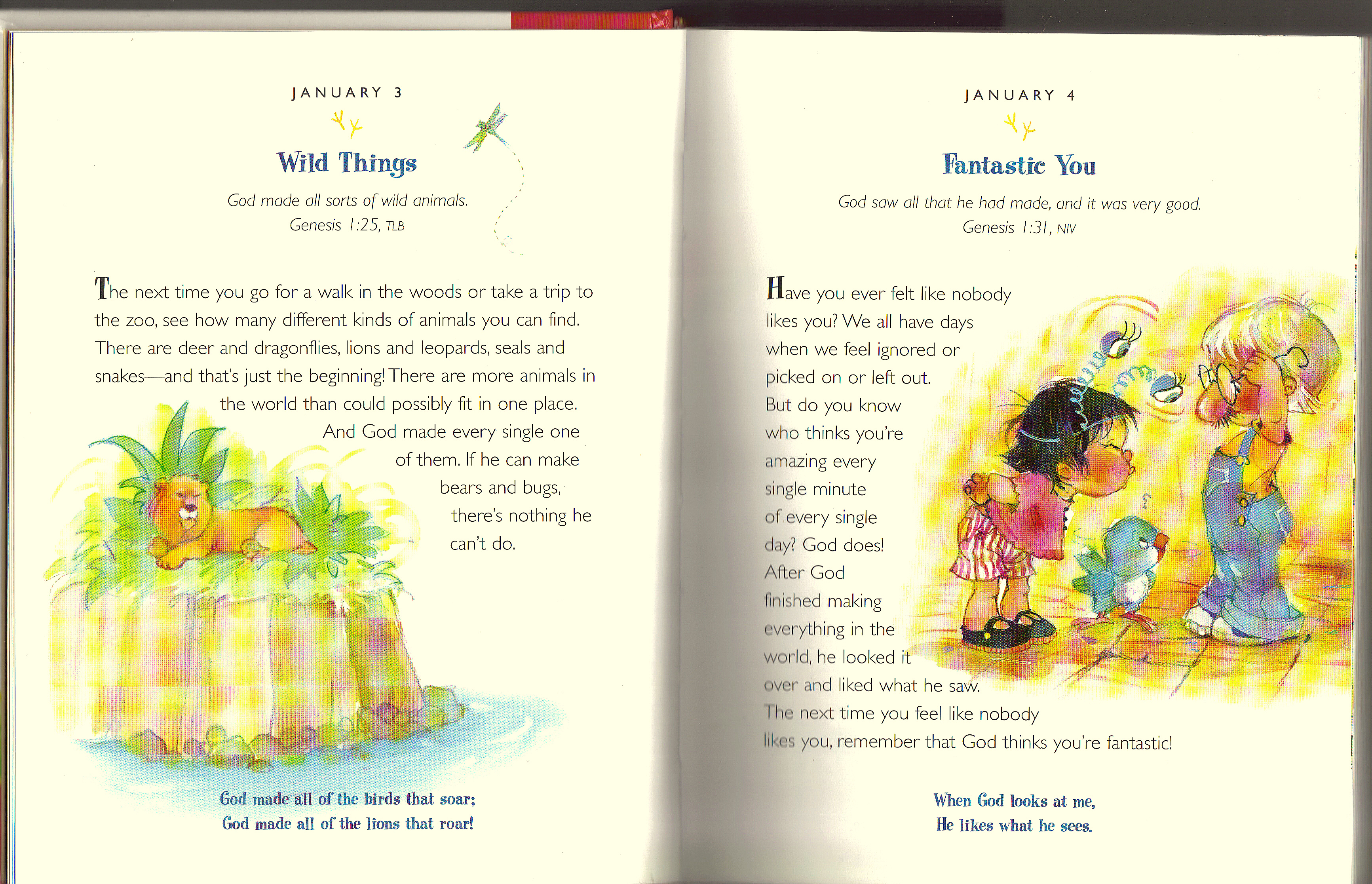 Devotional pages for January 3rd & 4th. The One Year Devotions for  PreSchoolers 2 ...