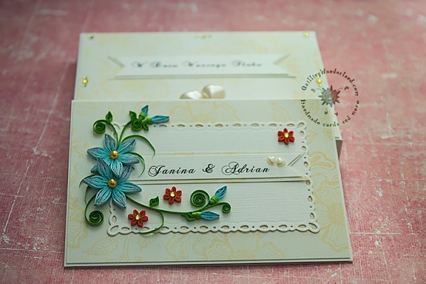 wedding card with blue flowers