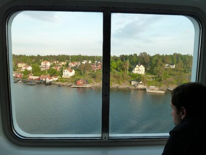 Travessia de ferry Estocolmo - Hensínquia. Mar Báltico. Vista da cabine