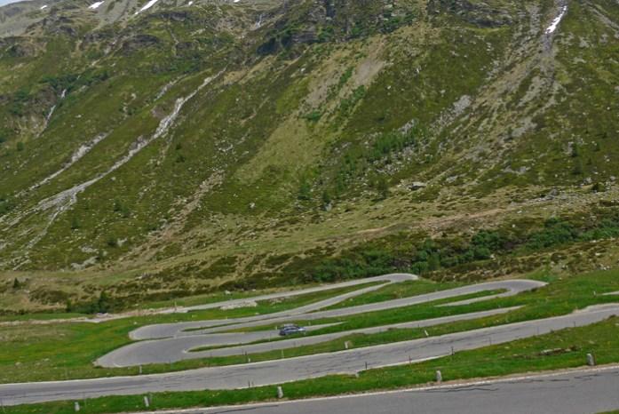 Entre a Suíça e a Itália no Splugen Pass.