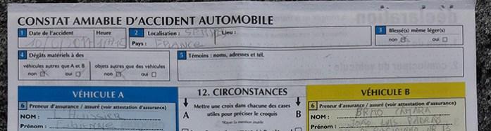 Imprevistos em viagem de mota. Declaração Amigável de Acidente em Francês