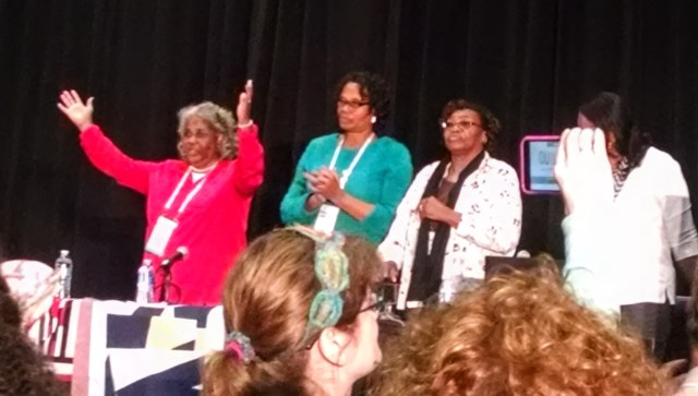 L to R: Mary Ann Pettway, Lucy Witherspoon, China Pettway, Gloria Hoppins. The Quilters of Gee's Bend, QuiltCon 2015