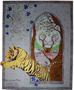 optical illusions hidden tiger applique longarm quilting painting on fabric