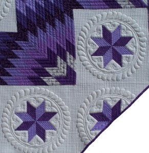 purple lone star long arm quilting cross hatching