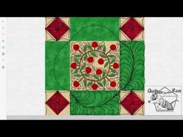 Free Motion Quilting Ideas Framed Christmas Wreath Variation #4