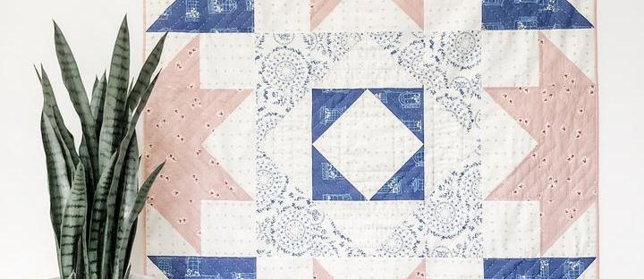 A pink and royal blue Vienna Quilt using Amy Sinibaldi's Sonata fabrics for Art Gallery Fabrics