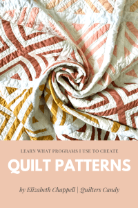 Orange, yellow, and peach fabrics in X Marks The Spot quilt top, folded and words that say Quilt Patterns