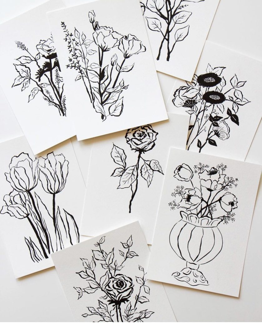 Amy Sinibaldi's black and white ink hand drawn flowers and vases.