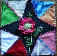 Allie's in Stitches silk flower applique