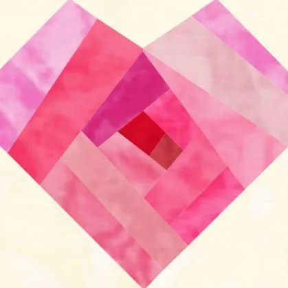 Valentine Heart quilt block pattern