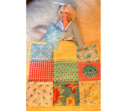barbie quilt and pillow