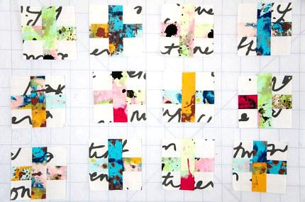 modern cross quilt top