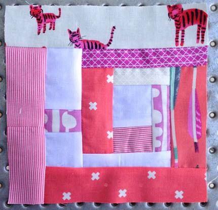 Pink Lion Pinks Sakes quilt block