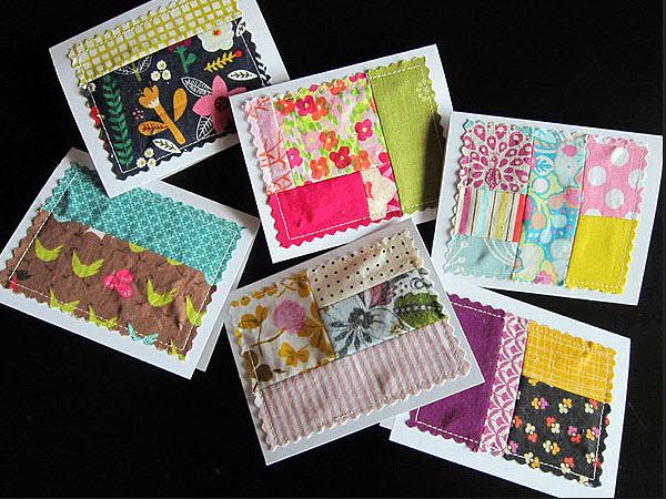 Fabric scrap note cards