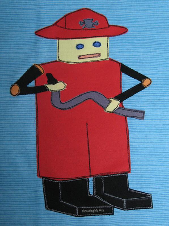 Fireman Robot Applique Pattern Threading My Way