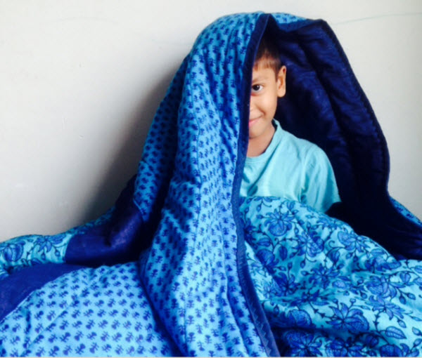Ocean Blue Indian Quilt with Son