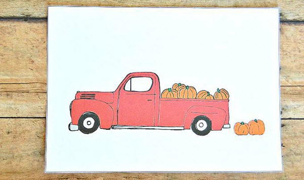 Free printable pumpkin and truck Autumn