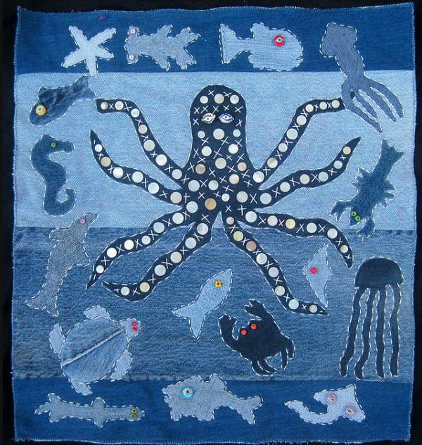 Raw Edge Applique Sea Creatures Wall Hanging