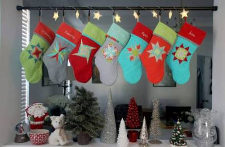 Family stockings sparkle at Elizabeth's house