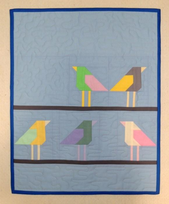 Birds on Telephone Wires - Mini Quilt