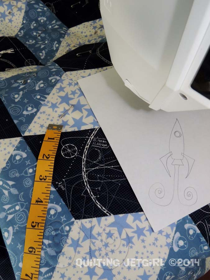 Space Age Tumbling Blocks - Quilted Rocket