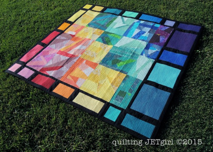 Improv Rainbow Scrap Quilt