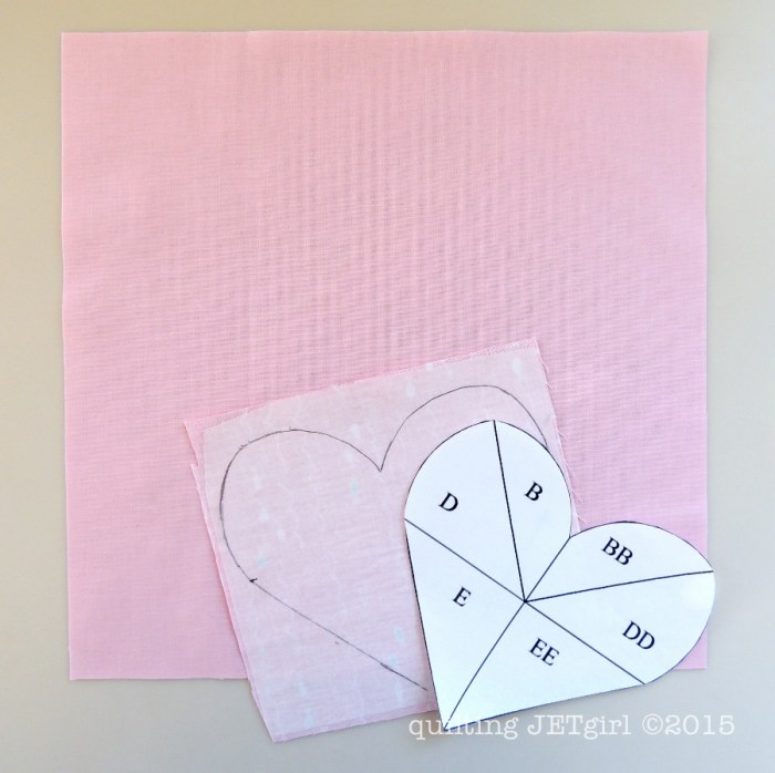 Applique Heart Block Tutorial Step 1