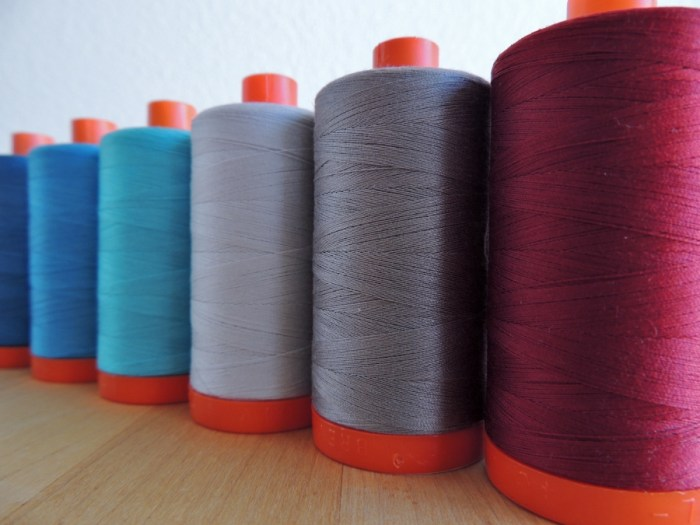 50wt Aurifil (L to R): 1125, 1320, 5006, 2600, 2620, and 2460
