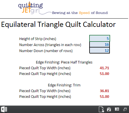 Equilateral Traingle Quilt Calculator (Image Only, Click to Redirect)