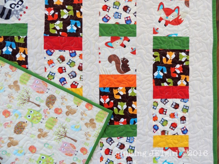 Woodland Animals Baby Quilt - Quilting Detail