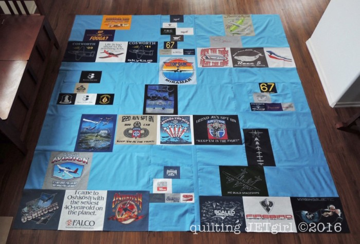 Missing Man TShirt Quilt - Finished Flimsy