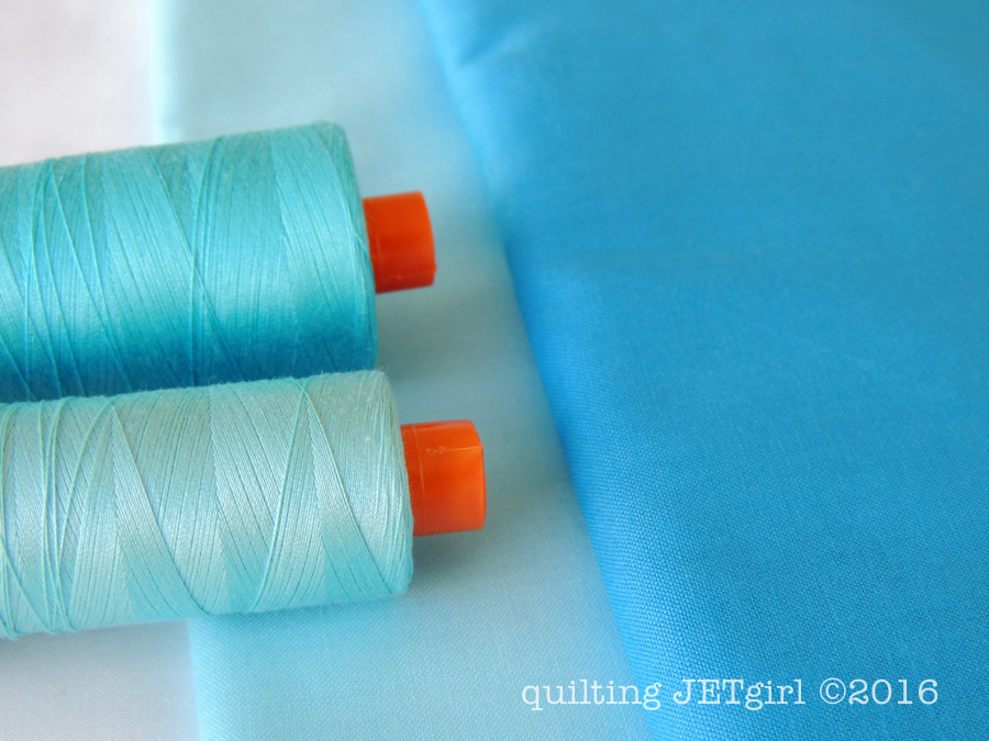 Snowflake Shimmer in Blue: Aurifil Thread Selection