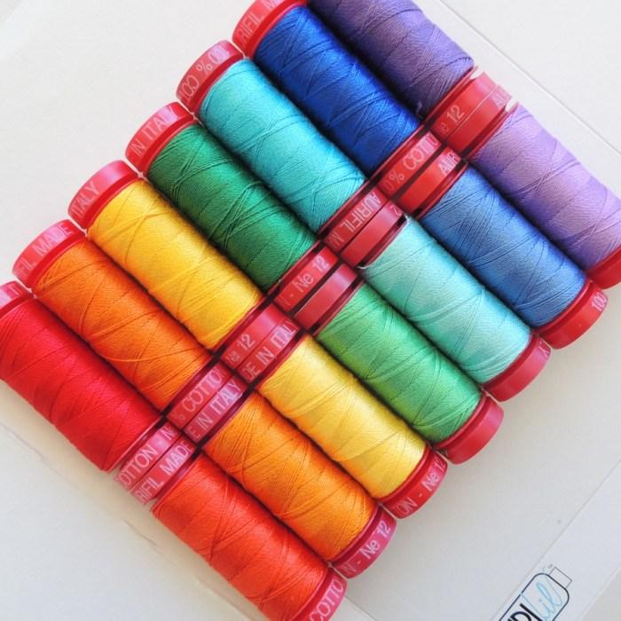 Rainbow of 12wt Aurifil Thread