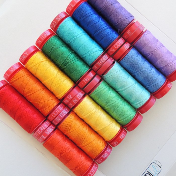 Rainbow of 12wt Aurifil Thread