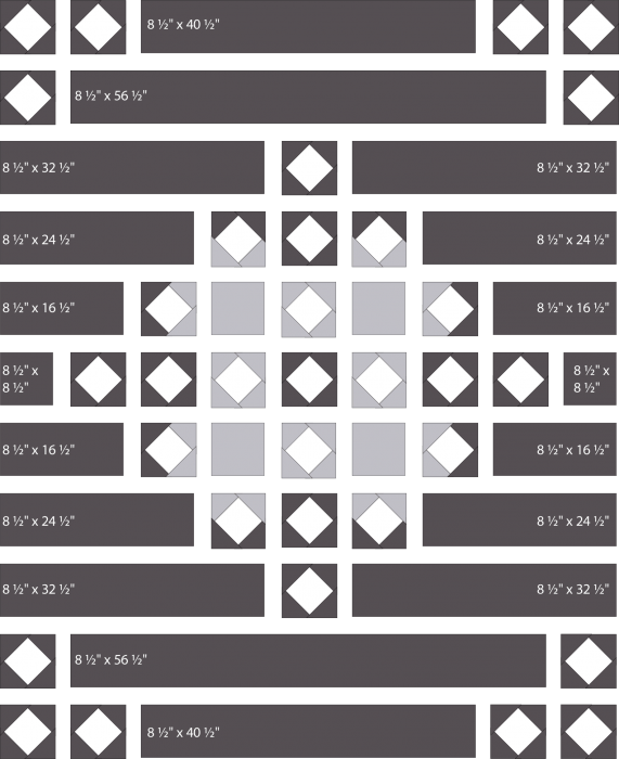 Snowflake Shimmer Quilt Assembly Diagram