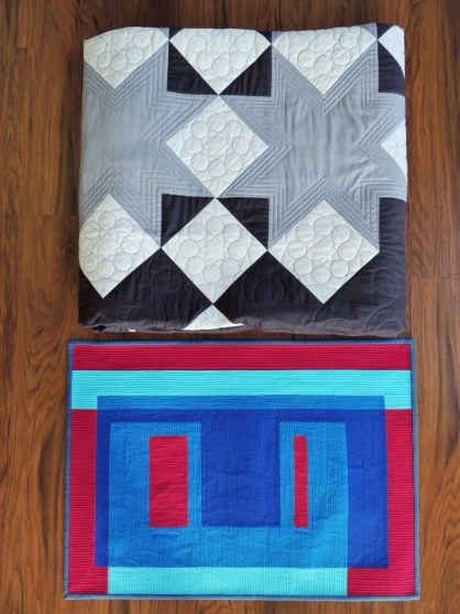Local Fair Quilt Dropoff 2016: Snowflake Shimmer in Grey and The Humans are Dead