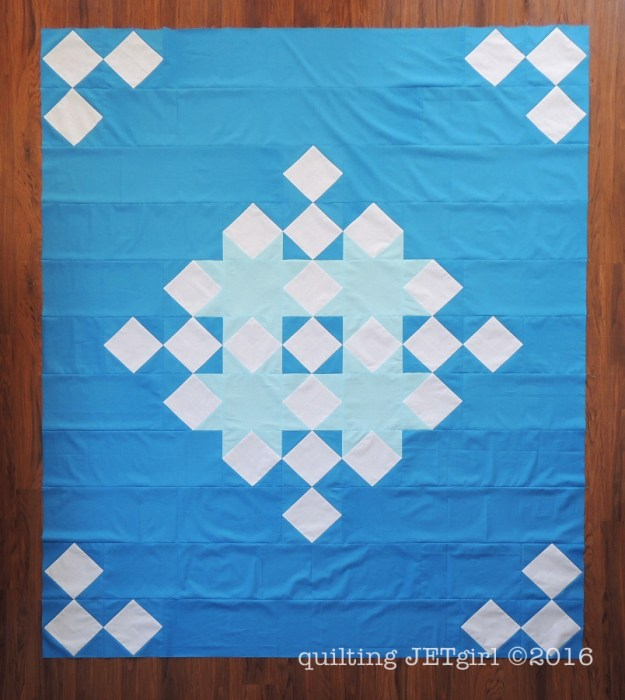 Snowflake Shimmer in Blue - Pieced Quilt Top