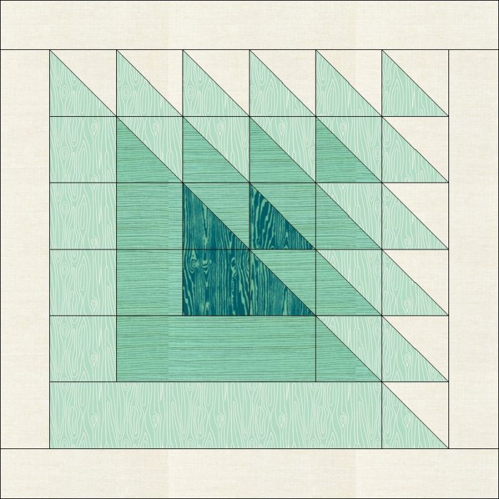 Example of Piecing with Directional Prints - Triangle Transparency