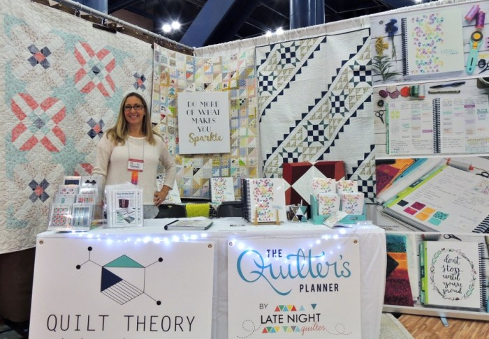 Do More of What Makes You Sparkle - Stephanie in The Quilter's Planner and Quilt Theory Quilt Festival Booth