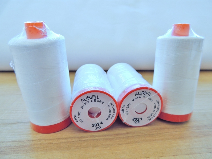 White (2024) and Natural White (2021) 50wt Aurifil