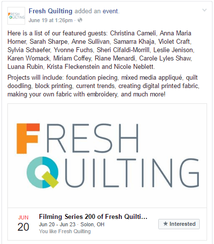 Filming Series 200 of Fresh Quilting