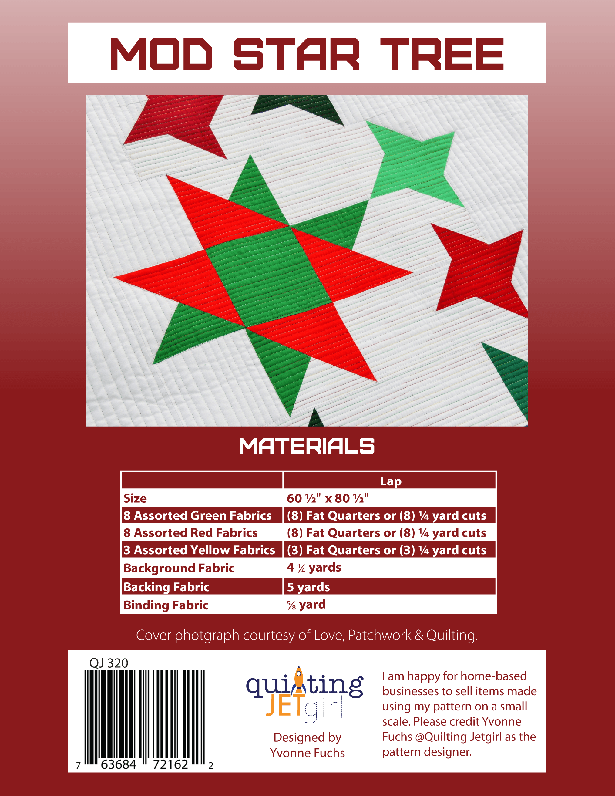 Mod Star Tree Quilt Pattern - Red Back Cover