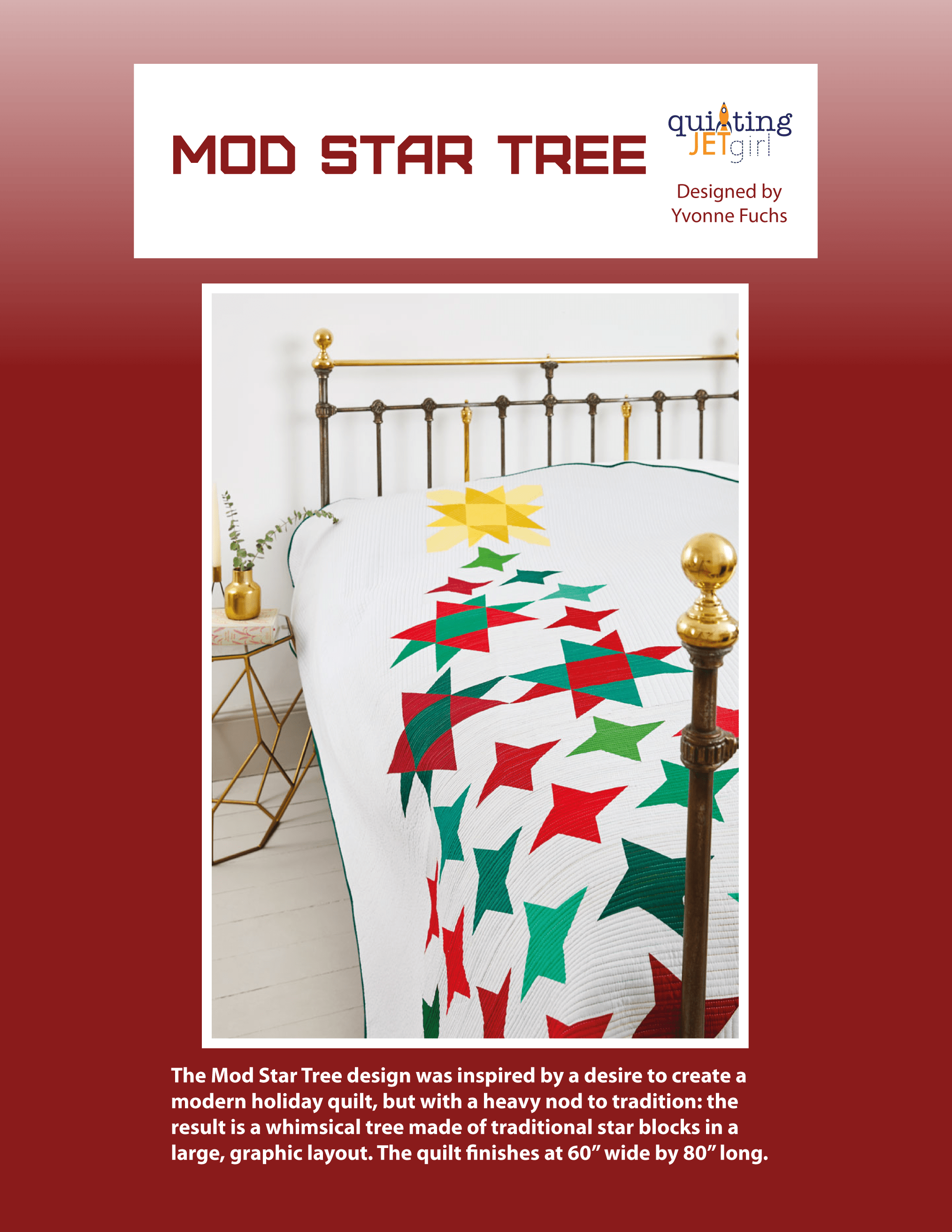 Mod Star Tree Quilt Pattern - Red Cover