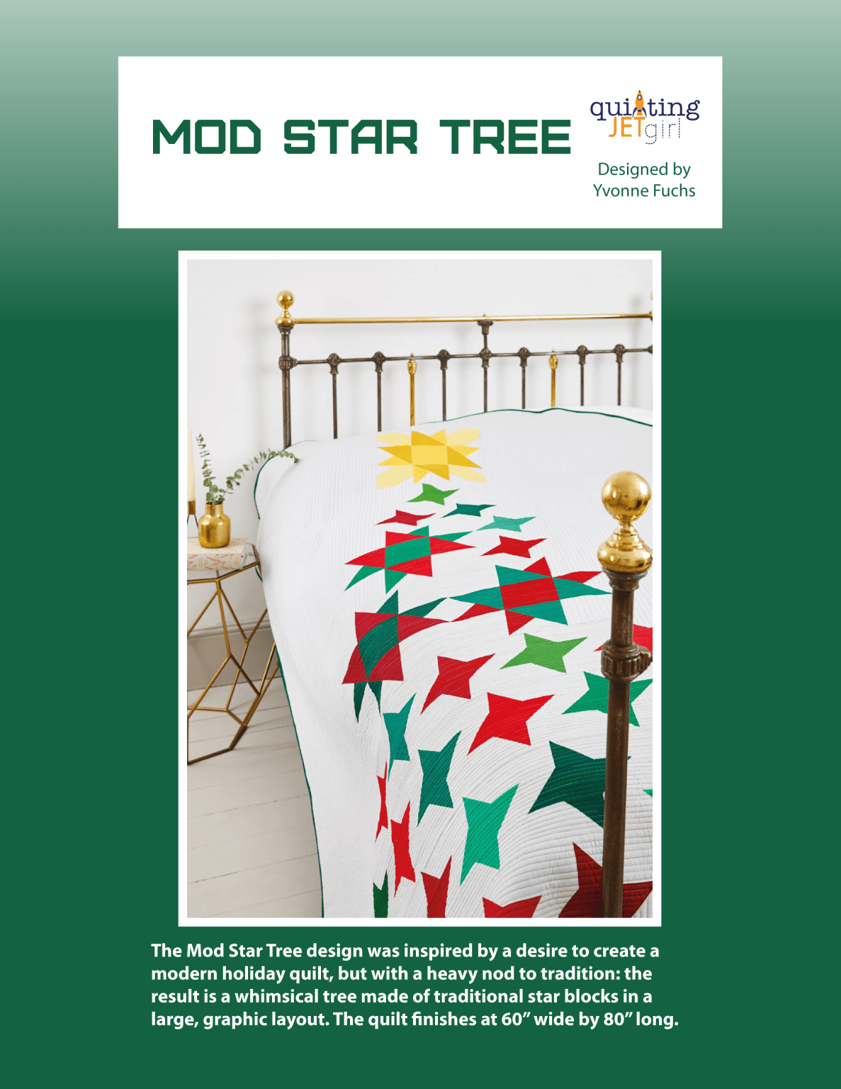 Mod Star Tree Quilt Pattern - Green Cover